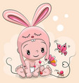 cute cartoon baby in a rabbit hat