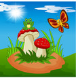 cute frog and butterfly cartoon with mushroom vector image vector image