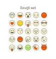 different thin line color icons set emoji vector image vector image