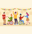 disabled people partying vector image vector image