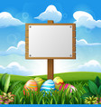 easter eggs with blank wooden board vector image