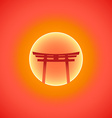 Flat abstract japan gate blazing sunset sun icon vector image