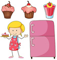 Girl baking cake and other desserts vector image