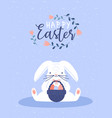 happy easter card funny barabbit with eggs vector image