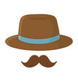 hat and moustache vector image vector image