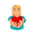 heart in the hands vector image