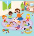 kindergarten kids in classroom and teacher reading vector image