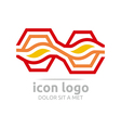leaf wave hexagon design symbol abstract vector image vector image