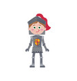 little knight in iron armor character vector image