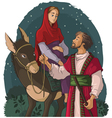 mary and joseph travelling donkey to bethlehem vector image vector image