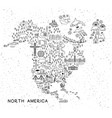 north america travel line icons map travel poster vector image vector image