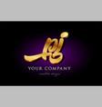 pj p j 3d gold golden alphabet letter metal logo vector image vector image