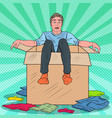 pop art stressed man in box with clothes vector image vector image