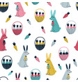 rabbits and carrots seamless pattern vector image vector image