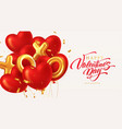 red glittering heart shape balloons and xoxo vector image