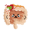 sad sick intestine cartoon character vector image