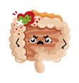 sad sick intestine cartoon character vector image vector image