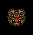 samurai evil head with black background vector image vector image