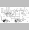 santa claus driving car with christmas gift vector image vector image