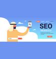 seo search engine optimization arab man using vector image vector image