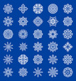 set of snowflakes on blue background vector image