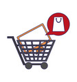 shopping cart with television blue lines vector image vector image