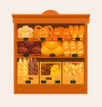 showcase stand or stall with bread and pastry vector image vector image