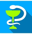 Snake Cup Flat Long Shadow Square Icon vector image vector image