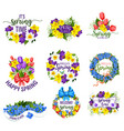 spring flowers wreath and floral bouquets vector image vector image
