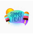 summer treat icecream and sun background vector image