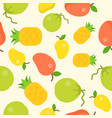 tropical fruit seamless pattern coconut pineapple vector image vector image