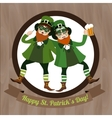 Two green Leprechaun with beer and Irish flag vector image