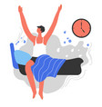 waking up early energetic man with healthy habits vector image