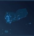 yemen map with cities luminous dots - neon lights vector image vector image