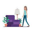 young woman in the livingroom avatar character vector image vector image
