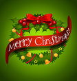 Christmas card with wreaths decorations vector image
