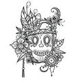 Hand drawn skull in flowers and vector image