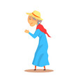 old woman watching something and applauding vector image