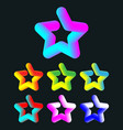 3d colorful star set vector image vector image