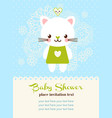 baby shower invitation card with cat vector image vector image