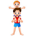 big brother giving his little brother piggyback ri vector image