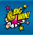 big win vintage background in pop art comic vector image vector image