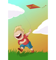 Boy with the kite vector image vector image