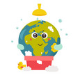 bright poster with cartoon planet taking shower vector image vector image