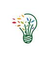 bulb leaf tree idea smart think logo icon vector image vector image