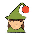 cartoon elf girl icon vector image vector image