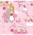 cartoon romantic seamless pattern vector image