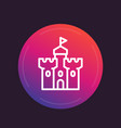 castle medieval fortress line icon vector image vector image
