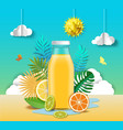 citrus juice advertising poster design template vector image vector image