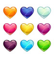 colorful glossy hearts collection vector image